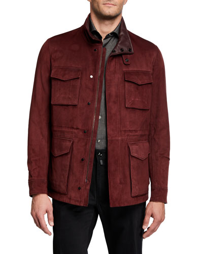 Men's Suede Field Jacket with Leather Lining