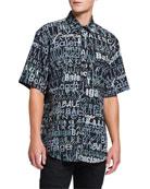 Balenciaga Men's Logo-Print Normal-Fit Short-Sleeve Sport Shirt