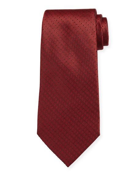 Ermenegildo Zegna Tonal Circles Silk Tie, Red