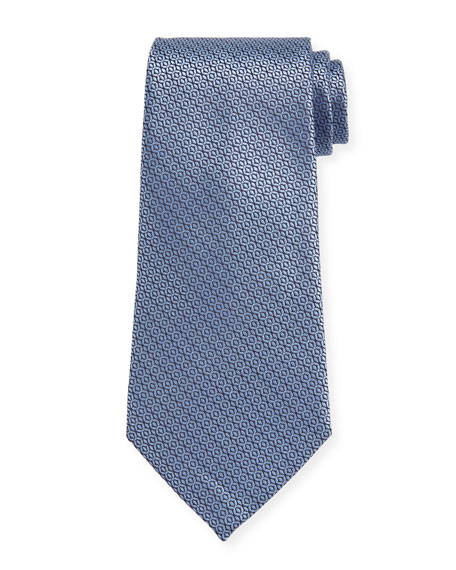 Ermenegildo Zegna Tonal Circles Silk Tie, Light Blue