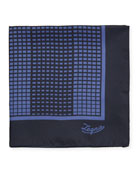 Ermenegildo Zegna Grid Check Silk Pocket Square, Blue