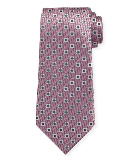 Ermenegildo Zegna Spaced Squares Silk Tie, Pink