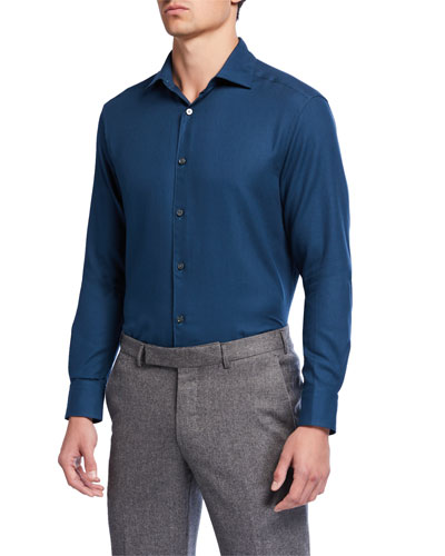 Men's Cotton/Cashmere Twill Sport Shirt, Teal