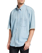 Balenciaga Men's Chambray Short-Sleeve Sport Shirt