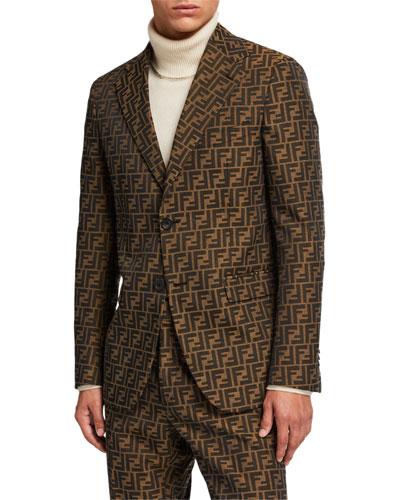 Men's FF Jacquard Two-Button Jacket
