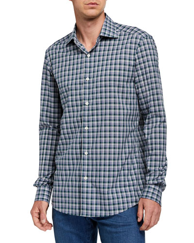 Men's Two-Tone Plaid Sport Shirt, Blue/Green