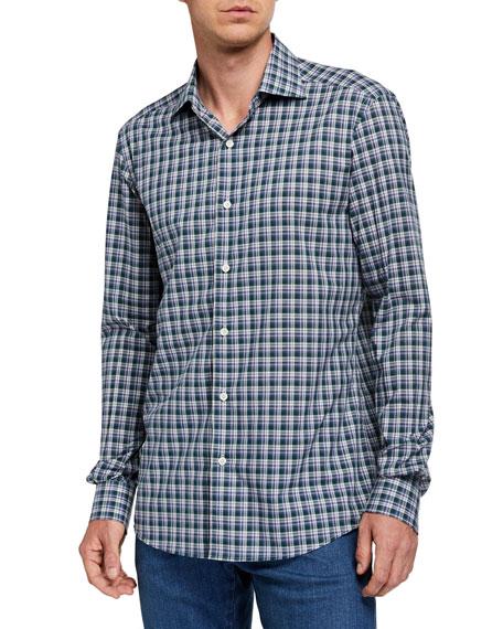 Ermenegildo Zegna Men's Two-Tone Plaid Regular-Fit Sport Shirt, Blue/Green