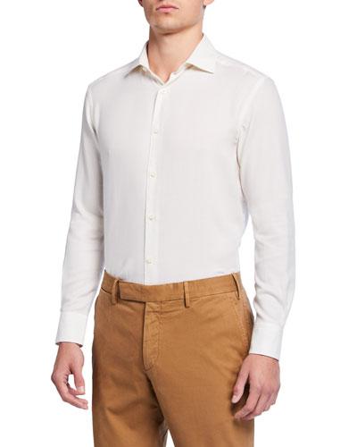 Men's Cotton/Cashmere Twill Sport Shirt, White