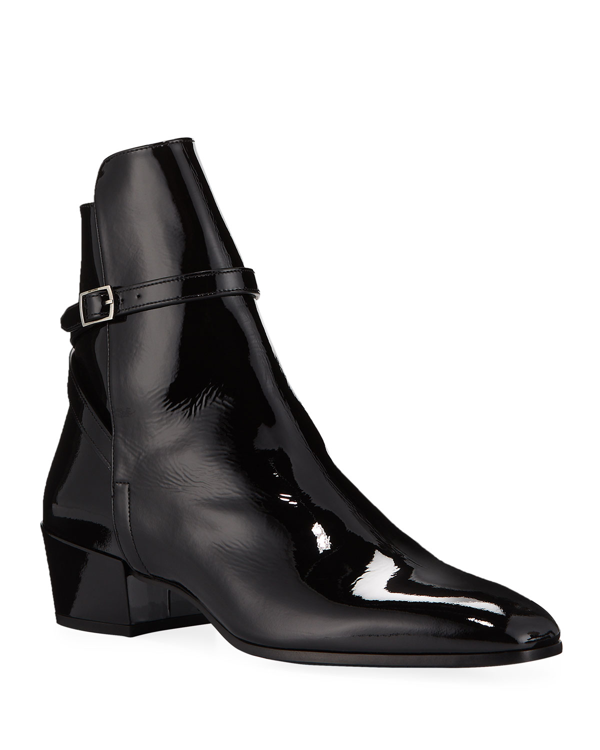 Men's Clementi 40 Buckle-Strap Patent Leather Boots
