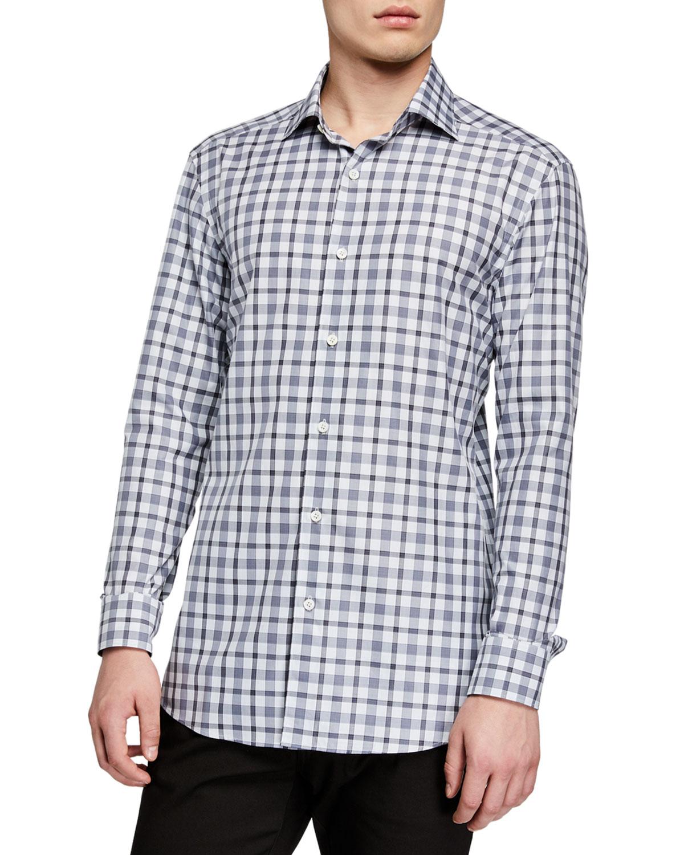 Ermenegildo Zegna T-shirts MEN'S TRAVELER PLAID SPORT SHIRT