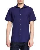 Ermenegildo Zegna Men's Seersucker Short-Sleeve Sport Shirt, Navy