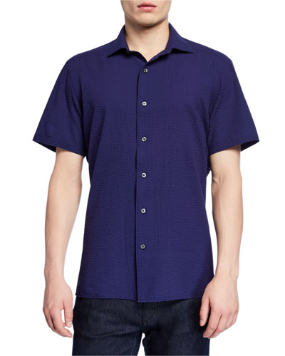 Men's Seersucker Short-Sleeve Sport Shirt, Navy