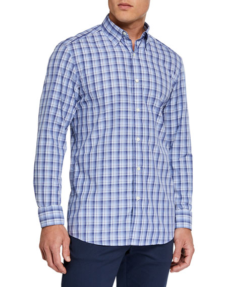 Ermenegildo Zegna Men's Cento Quaranta Plaid Regular-Fit Sport Shirt, Blue