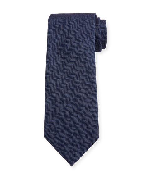 Ermenegildo Zegna Men's Solid Herringbone Tie, Navy