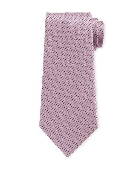 Ermenegildo Zegna Men's Chain Links Silk Tie, Pink