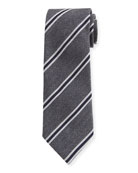 Ermenegildo Zegna Men's Framed-Stripe Tie, Gray