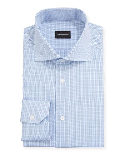 Men's Textured Check Trim-Fit Dress Shirt