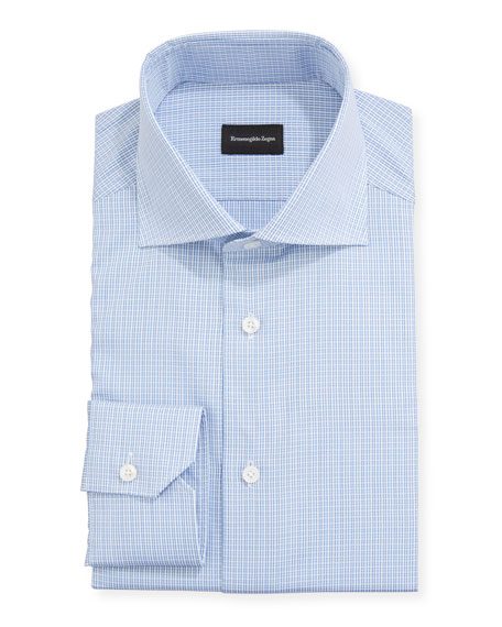Ermenegildo Zegna Men's Textured Check Trim-Fit Dress Shirt