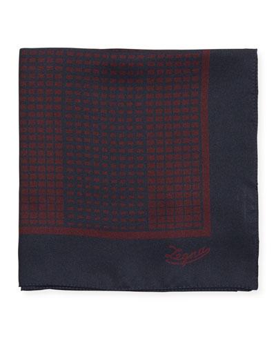 Grid Check Silk Pocket Square, Red