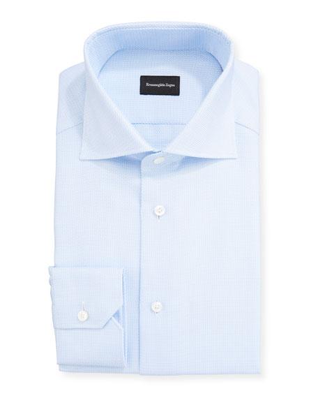 Ermenegildo Zegna Men's Stair Weave Trim-Fit Dress Shirt