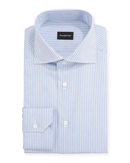 Ermenegildo Zegna Men's Fine-Stripe Trim-Fit Dress Shirt