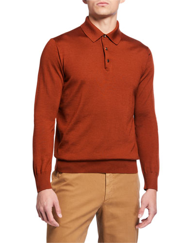 Men's Long-Sleeve Cashmere-Silk Polo Shirt, Pumpkin