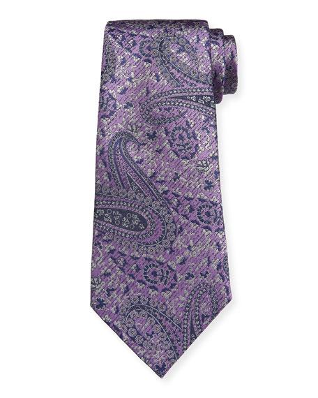 Ermenegildo Zegna Woven Paisley Silk Tie, Purple