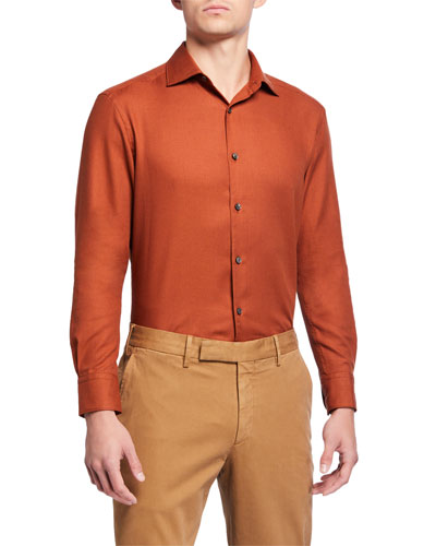Men's Cotton/Cashmere Twill Sport Shirt, Orange