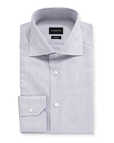 Men's Trofeo Narrow-Stripe Cotton Dress Shirt