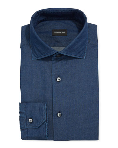 Men's Solid Chambray Dress Shirt