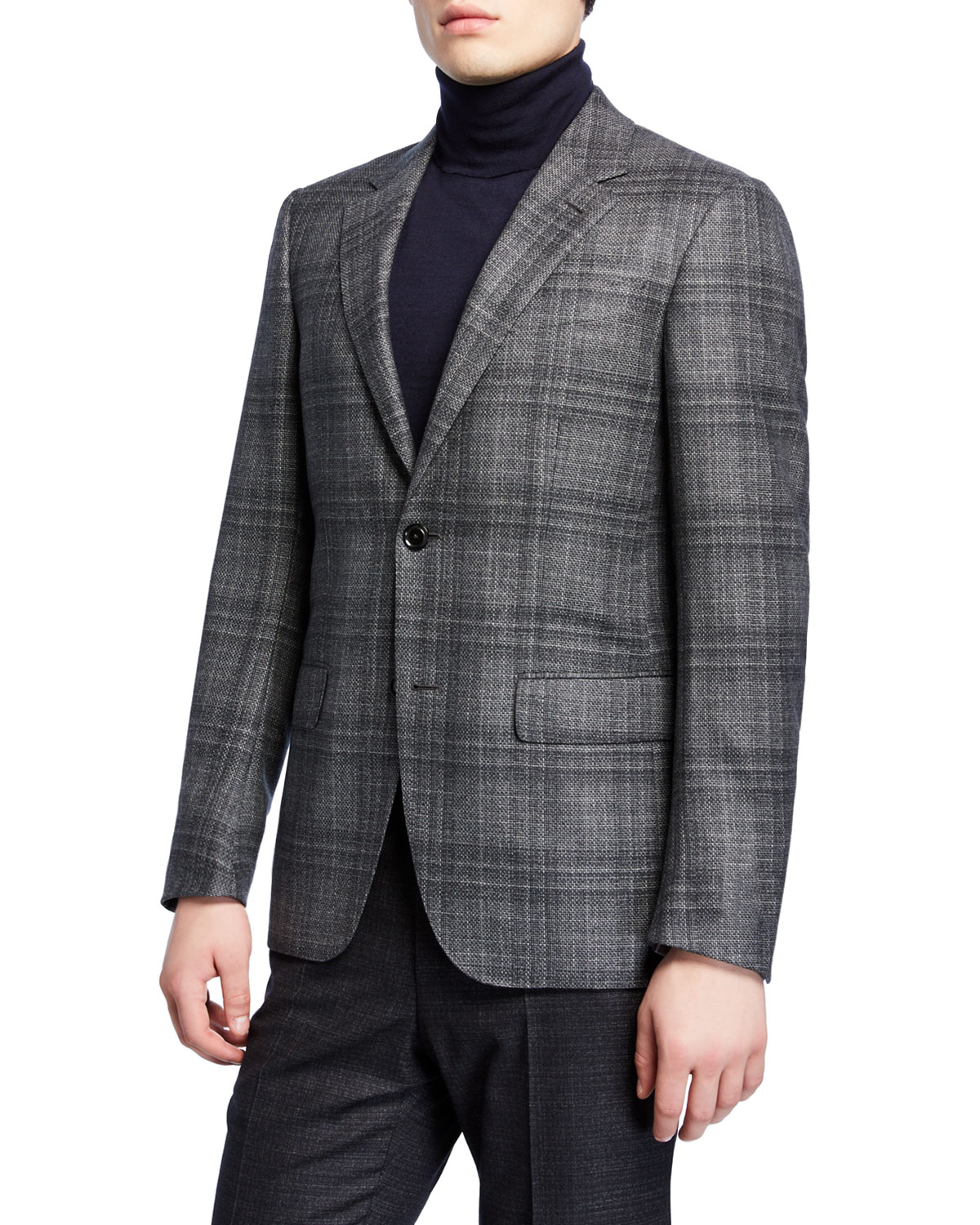 Ermenegildo Zegna Coats MEN'S PLAID WOOL SPORT COAT