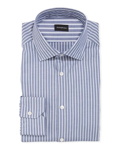 Ermenegildo Zegna Men's Oxford Stripe Cotton Trim-Fit Dress Shirt