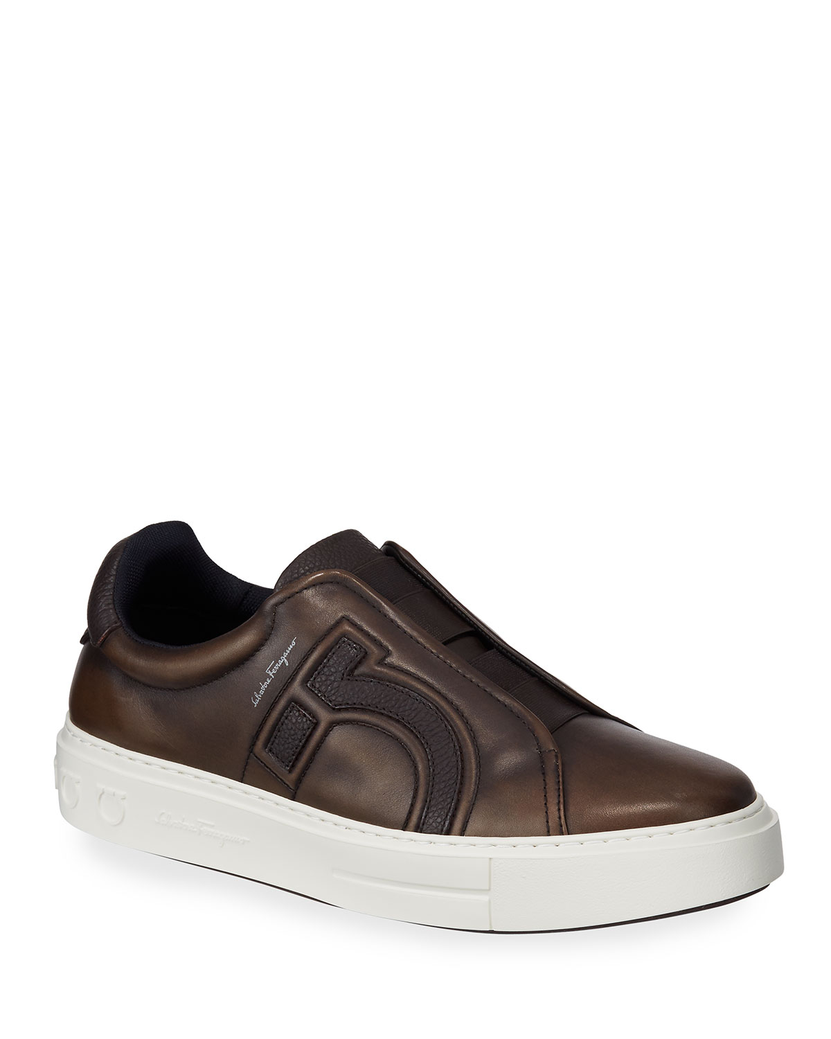 Salvatore Ferragamo Sneakers MEN'S TASKO SLIP-ON LEATHER SNEAKERS