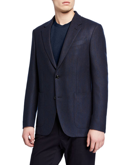 Ermenegildo Zegna Men's Textured Regular-Fit Cashmere Patch-Pocket Two-Button Jacket