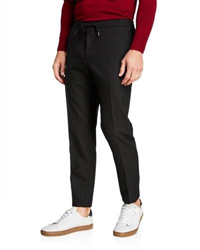Men's Slim-Fit Wool Jogger Trousers