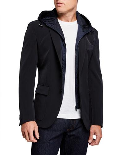 Men's Slim-Fit Technical Sport Jacket with Bib Hood