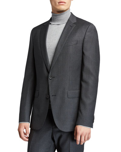 Men's Slim-Fit Wool Houndstooth Two-Piece Suit