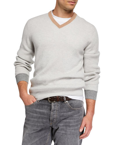 Men's Colorblock-Trim V-Neck Cashmere Sweater