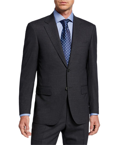 Men's Solid Stretch-Wool Two-Piece Suit