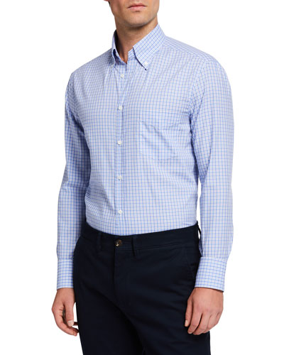 Men's Basic Plaid  Sport Shirt with Button-Down Collar
