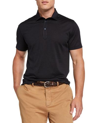 Men's Silk-Cotton Jersey Polo Shirt