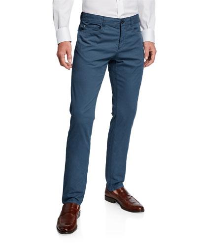 Men's Straight-Leg Cotton/Silk Stretch Pants
