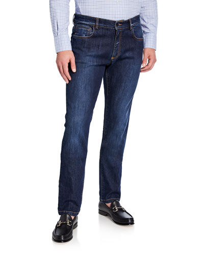Men's Straight-Leg Stretch Cotton Jeans
