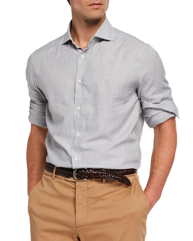 Brunello Cucinelli T-shirts MEN'S CHEVRON SPORT SHIRT