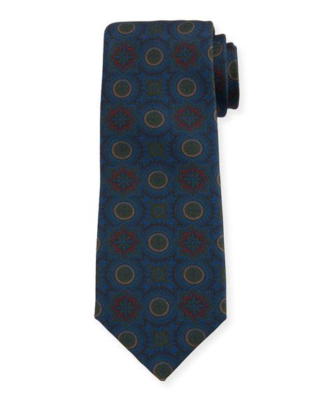 Petronius 1926 Men's Medallion-Print Silk Tie