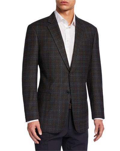 Men's G-Line Windowpane Check Wool Sport Jacket