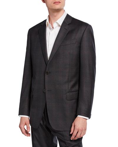 Men's G-Line Tonal Plaid Wool Two-Piece Suit