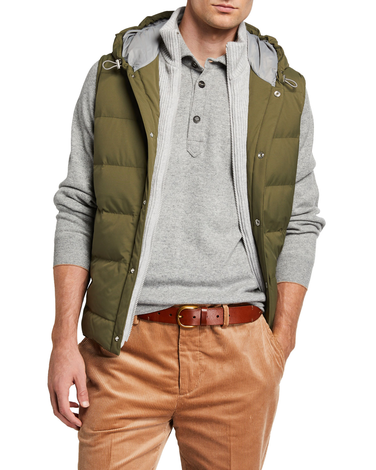 Brunello Cucinelli Tops MEN'S QUILTED PUFFER VEST WITH CASHMERE BIB