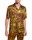 Versace Jeans Couture Men's Leopard Baroque Short-Sleeve Sport
