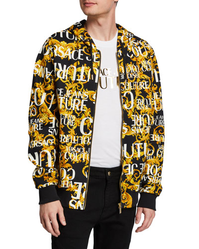 Men's Baroque-Print Zip-Front Hoodie Sweatshirt